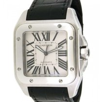 Cartier Santos 100 Xl W20073x8 In Steel And Leather