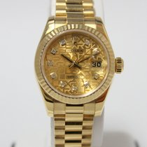 Rolex Ladies 18kt Gold DateJust Champagne Diamond Jubilee Dial...