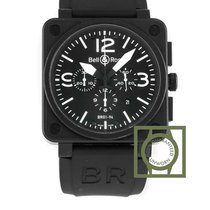 Bell & Ross 01-94 Chronograph Carbon 46mm Crocodile Strap NEW