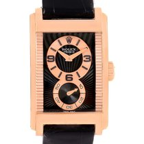 Rolex Cellini Prince Black Dial 18k Rose Gold Mens Watch 5442...