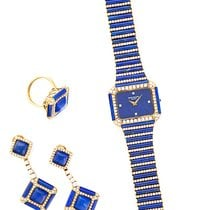 Patek Philippe Yellow Gold Lapis Diamond Watch, Ring and...