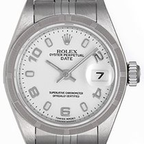 Rolex Ladies Date Stainless Steel Watch White Arabic Dial 79240