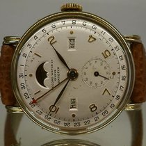 RECORD WATCH vintage DATOFIX rare gold and steel triple date...