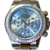 Rolex 116520 Daytona Steel Custom Baguette Diamond Bezel and Dial