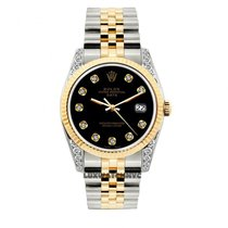 Rolex Date Unisex 34mm Black Dial Gold And Stainless Steel...