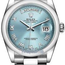 Rolex Day-Date 36mm Platinum Domed Bezel 118206 Ice Blue Roman...