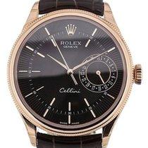 Rolex Cellini Date 50515-0010 Black Guilloche Index Rose Gold...