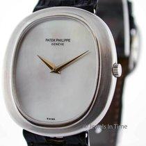 Patek Philippe Ellipse 18k White Gold Watch RARE 3589 Mother...