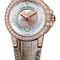 Harry Winston Ocean Lady Crocodile Leather Strap Rose Gold...
