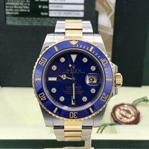 Rolex Submariner 116613 gold & Steel Blue Diamond Dial...