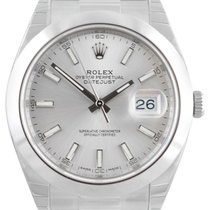 Rolex Datejust 41 126300 Silver Index Domed Stainless Steel...