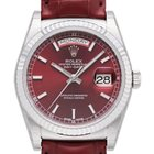 Rolex Day-Date 36 18 kt Weißgold Leder 118139 Rot