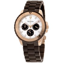 Bulova Women's 98n103 Brown Rubber Wrapped Stainless-steel...