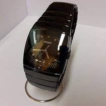 Rado Sintra Mens XXL Watch Black Dial Platinum Tone Ceramic