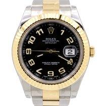 Rolex Datejust II 116333 Black Arabic Yellow Gold Stainless...