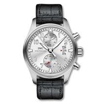 IWC Pilot Spitfire Chronograph IW387809 Silver Black Alligator...
