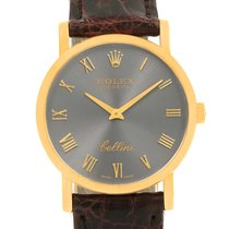 Rolex Cellini Classic 18k Yellow Gold Slate Roman Dial Watch 5115