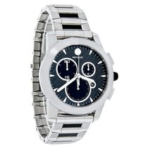 Movado Vizio Chronograph Mens Carbon Fiber Link Swiss Watch...