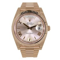 Rolex DAY-DATE 40 Rose Gold President Sundust Roman Dial