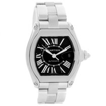 Cartier Roadster Black Dial Large Steel Mens Watch W62041v3...