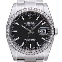 Rolex Datejust 36 Weißgold Diamant Lünette 116244 Schwarz...