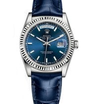 Rolex DAY-DATE 36mm White Gold Watch Blue Dial Leather Strap