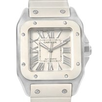 Cartier Santos 100 Stainless Steel White Rubber Ladies Watch...