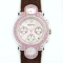 DeLaneau White Gold 3-Time Zone Pink Sapphire Chronograph Watch