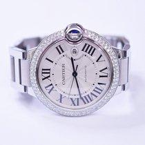 Cartier Ballon Bleu Stainless Steel Watch With Custom Diamonds