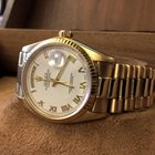 Rolex Oyster Day-Date President Yellow Gold White Roman Dial...
