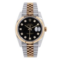 Rolex DATEJUST 36mm Steel & 18K Rose Gold Black Diamond Dial