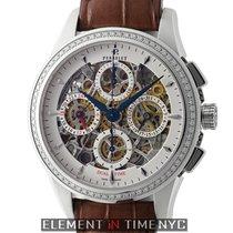 Perrelet Skeleton Dual Time Chronograph Diamond Bezel Steel...