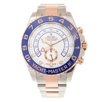 Rolex Yacht Master 18k Rose Gold And Steel White Automatic...