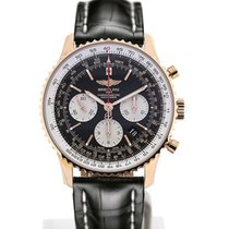 Breitling Navitimer 01 43 Gold Case Black Croco Strap Folding...