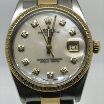 Rolex DATE 34MM AUTO STEEL GOLD MOTHER OF PEARL DIAMONDS DIAL
