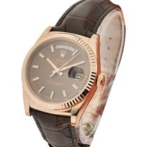 Rolex Unworn 118135choc Day Date President in Rose Gold with...
