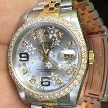 Rolex Ladies Mens 36mm Datejust Diamond Bezel Floral Dial...