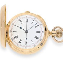 Pocket watch: early, heavy golden hunting case watch with...