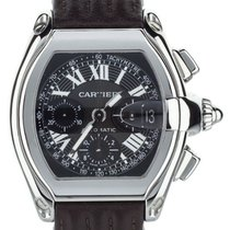 Cartier Roadster Chronograph Tachymeter Black Dial On Alligato...