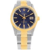 Rolex Date Mens Steel 18k Yellow Gold Blue Dial Mens Watch 15053