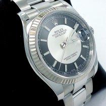 Rolex Datejust 18k White Gold Bezel Black & Silver Dial...