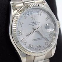 Rolex President Day-date 118239 18k White Gold Silver Roman...