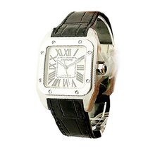 Cartier W20106X8 Santos 100 Small Size in Steel - on Black...