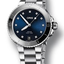 Oris Aquis Date Blue Diamond Dial Ladies Watch 73377314195MB