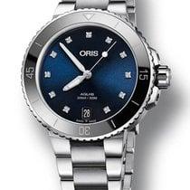 Oris Aquis Date Blue Diamond Dial Ladies Watch 73377314195MB