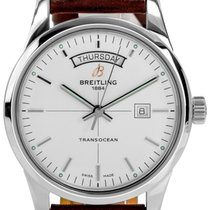 Breitling Transocean Day-Date Brown Leather Straps Watch...