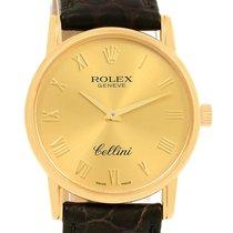 Rolex Cellini Classic 18k Yellow Gold Roman Dial Brown Strap...