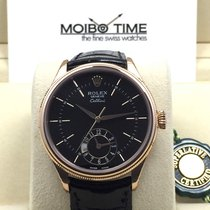 Rolex 50525 Cellini Dual Time Black Guilloche 39mm [NEW]