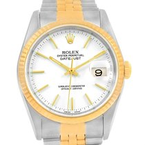 Rolex Datejust Steel Yellow Gold White Baton Dial Mens Watch...