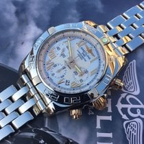Breitling Chronomat 44 B01 Gold Steel White Roman Dial 44 mm...
